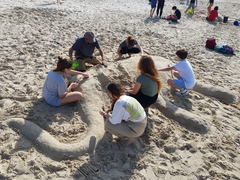תיכון תמר הוד השרון: ניקוי חופים ופיסול בחול ים